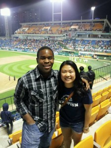 Attending a Daejeon Hanwha Eagles baseball game with fellow Fulbright ETA Ammy Yuan.