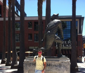 Justin in front of the San Francisco Giants Stadium
