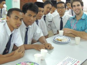 "Me and my students at an after-school ""jamuan"" where we ate ""mee goreng"" and talked about America."