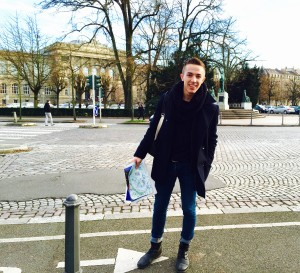 Ricky Cieri stands in front of the Brant Université building in Strasbourg during his semester studying in France.