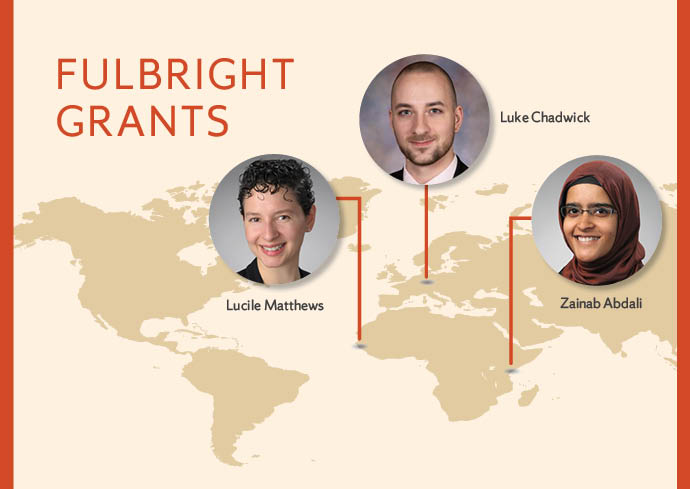 Picture of world map showing 3 Fulbright recipients and theor geographic placements