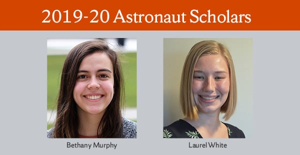 portraits of 19-20 Astronaut Scholars; Bethany Murphy and Laurel White