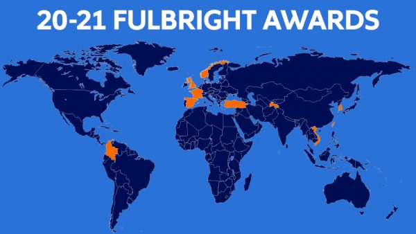 Blue-toned global map with countries highlighted in orange that SU students will visit as part of their Fulbright grant