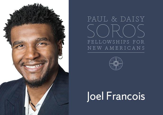 Headshot of Joel Francois Smiling next to the PD Soros logo
