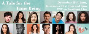 """image featuring the headshots of the performers, director, and composer of """"A Tale for the Time Being"""" musical adaptation."""