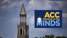 """blue rectangle with the text """"ACC Meeting of the Minds"""" foregrounded over a picture of some blue sky and a spire on a building at UNC Chapel Hill"""