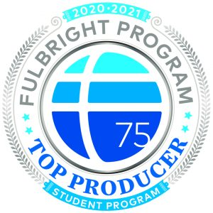 "Fulbright Program logo of blue ombre circle surrounded by the text ""Fulbright Program Top Producer Student Program"""