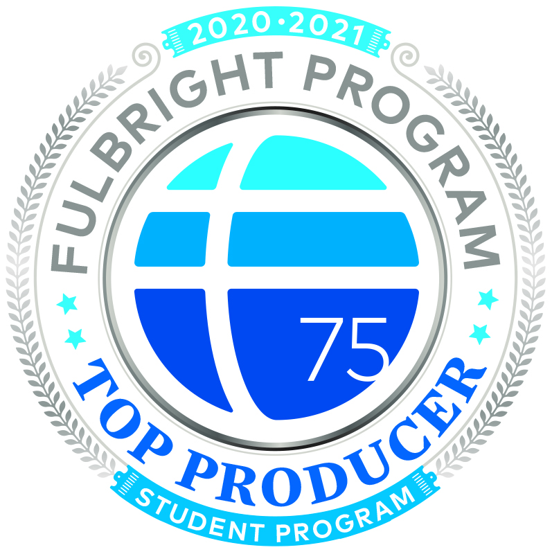 """Fulbright Program logo of blue ombre circle surrounded by the text """"Fulbright Program Top Producer Student Program"""""""