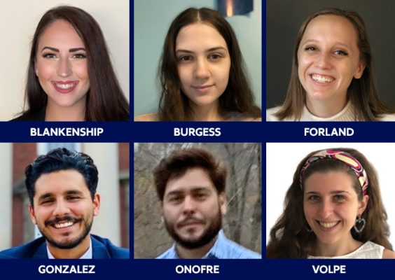 six headshots of each of the six CLS recipients in a blue grid, featuring the name of each below their photo.