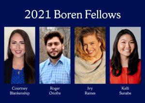 four headshots in a row of SU's 2021 Boren Fellows