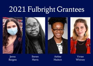 blue rectangle with 4 parallel photos each picturing one of this year's SU Fulbright recipients.
